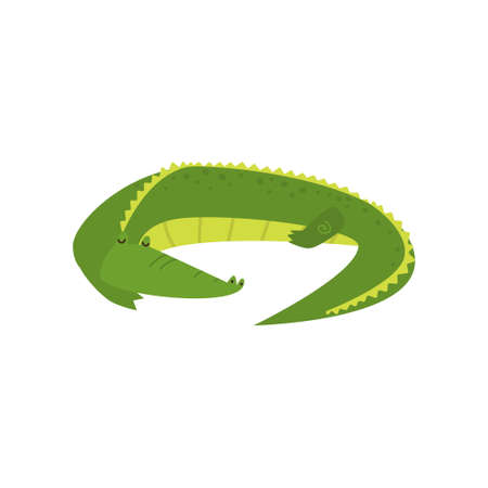 Young green cute cheerful crocodile spends his free time. Vector illustration isolated on white background. Çizim