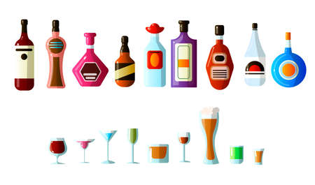 ollection of different alcoholic beverages in bottles with glasses of different shapes. Vodka, champagne, wine, whiskey, beer, brandy, tequila, cognac, liqueur, vermouth, gin, rum, absinthe, sambuca, bourbon cider and others.