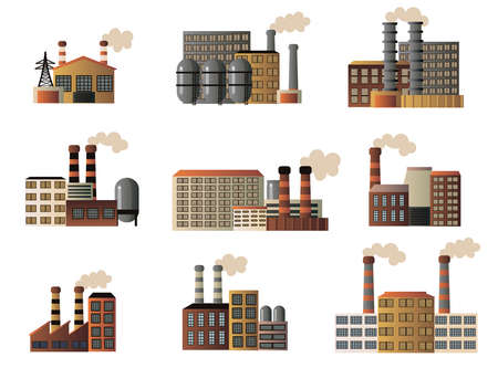 Set of buildings of an industrial manufactory. Different buildings of factories producing crude oil, gas and others. Vector illustration isolated on white background.