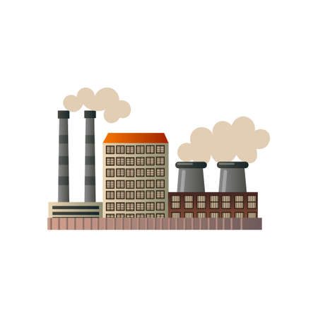 The building of an industrial manufactory. Plant for processing raw materials. Vector illustration isolated on white background. Illustration