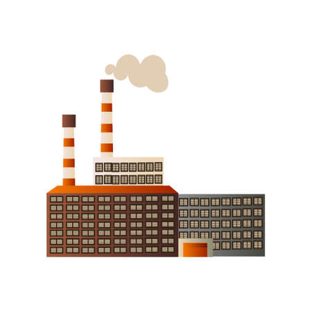 The building of an industrial manufactory. Plant for processing raw materials. Vector illustration isolated on white background.