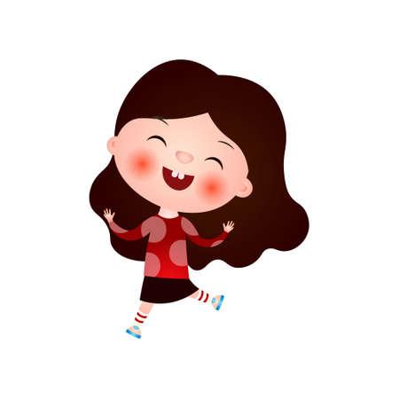 La niña linda divertida con el corte de pelo divertido pasa su tiempo libre divirtiéndose y jugando. Ilustración de vector aislado sobre fondo blanco. Ilustración de vector