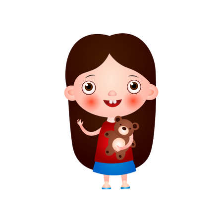 Funny cute little girl with funny haircut spends his free time having fun and playing. Vector illustration isolated on white background.