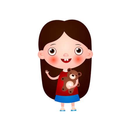 La niña linda divertida con el corte de pelo divertido pasa su tiempo libre divirtiéndose y jugando. Ilustración de vector aislado sobre fondo blanco.