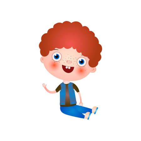 Funny cute little boy with funny haircut spends his free time having fun and playing. Vector illustration isolated on white background.