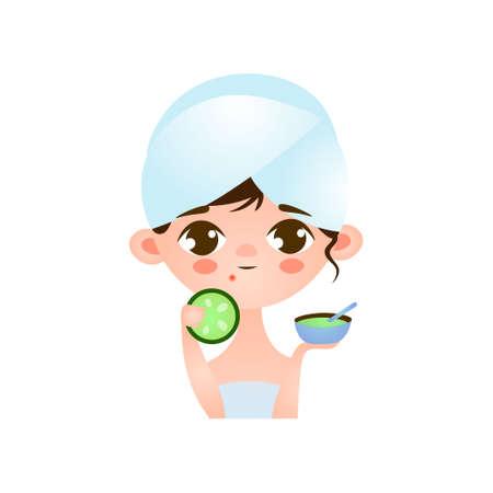 Jeune petite fille mignonne s'occupant de sa peau de problème faisant un masque sur son visage. Illustration vectorielle isolée sur fond blanc. Vecteurs