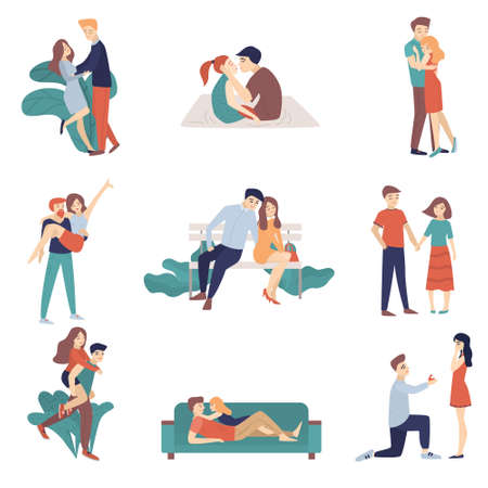 Set of young loving couples on a date, they kiss, make each other suggestions, hug, walk in the parks, sit in a cafe. Vector illustration of different food products on white.