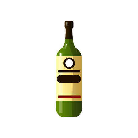 Alcoholic drink in a beautiful glass bottle of unusual shape on white background. Vector illustration isolated on white background.
