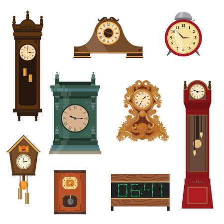 Set di orologi vintage realizzati a mano in legno di diversi colori e forme. Illustrazione vettoriale di diversi prodotti alimentari su bianco. Vettoriali