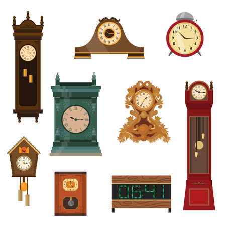Set of vintage watches handmade from wood of different colors and shapes. Vector illustration of different food products on white.