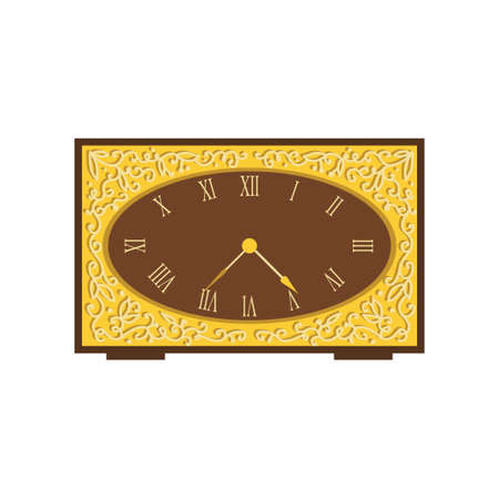 Vintage watches made of wood beautifully concise form. Vector illustration isolated on white background.  イラスト・ベクター素材