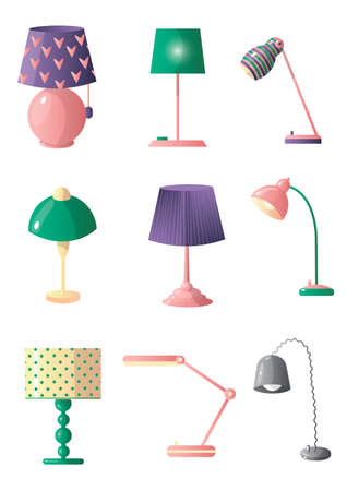 Set of table lamps of different shapes and colors. Bedside lamps, lamps for the desktop. Vector illustration isolated on white background.