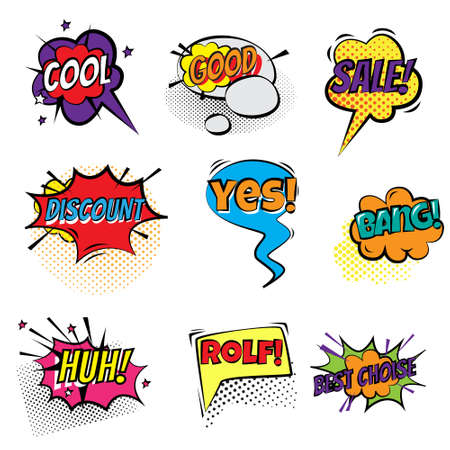 Set of stickers bubbles with text. Short messages in a color bubble. Vector illustration of different food products on white.
