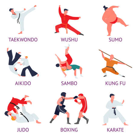 Set of fighters engaged in martial arts. Fighters train martial arts exercises. Vector illustration of different food products on white.