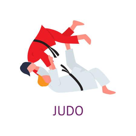 Atleet die zich bezighoudt met vechtsporten slijpt trucs en slagen. Pijnaanvallen oefenen. Vectorillustratie geïsoleerd op een witte achtergrond.