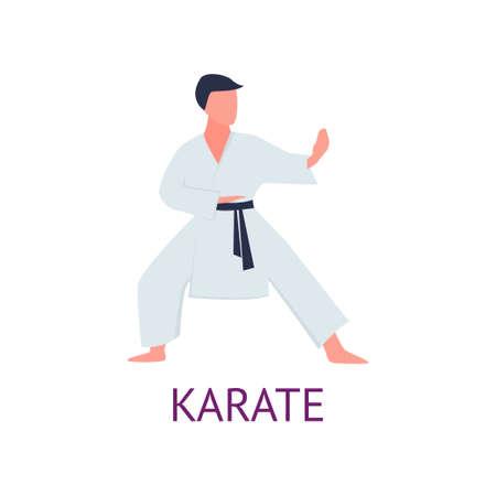 Atleta dedicado a las artes marciales perfecciona trucos y golpes. Practicando golpes de dolor. Ilustración de vector aislado sobre fondo blanco. Ilustración de vector