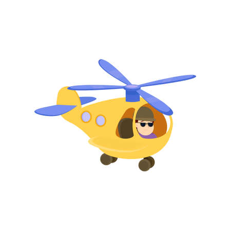Funny young man dives in a beautiful little helicopter. Vector illustration isolated on white background.