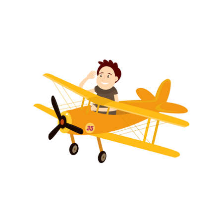 Funny young man diving in a beautiful little plane. Vector illustration isolated on white background.