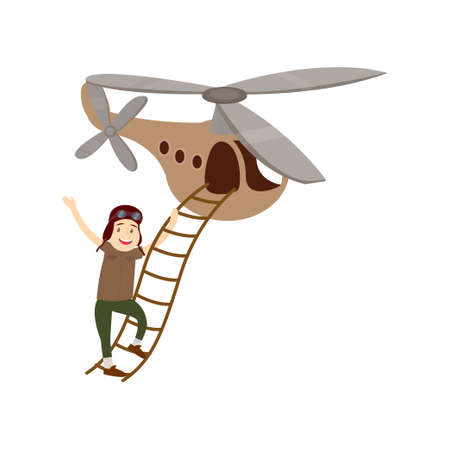 Funny young man enters a beautiful little helicopter. Vector illustration isolated on white background. Ilustração Vetorial