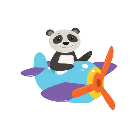 Cute cute animal panda flies on a funny plane. Vector illustration isolated on white background.