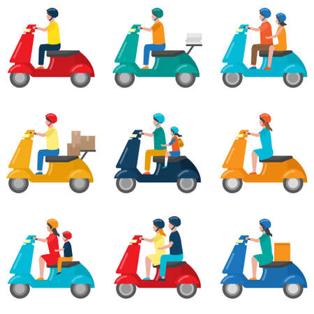 Set of beautiful colored two-wheeled scooters serving for movement and delivery. Vector illustration isolated on white background.