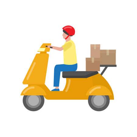 Bellissimo monopattino a due ruote colorato servito per spostamento e consegna. Illustrazione vettoriale isolato su sfondo bianco.