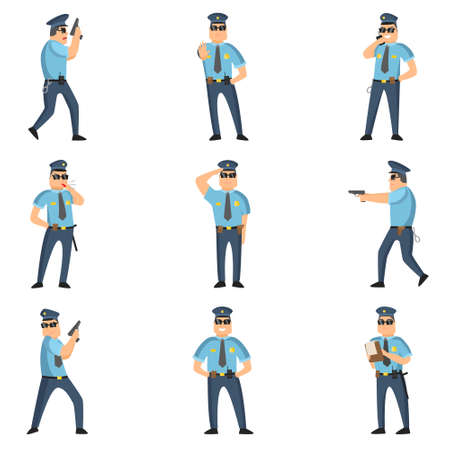 Recrutement de policiers faisant leur travail dangereux tous les jours. Un policier au service avec une arme à feu, un sifflet dans un gilet, avec des menottes. Illustration vectorielle isolée sur fond blanc.