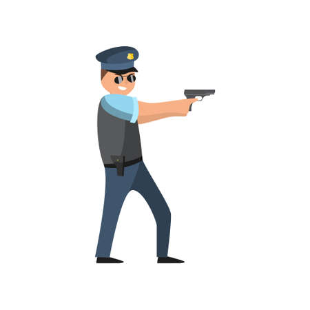 Policeman in blue uniform with a police badge in a cap and glasses performs his daily work protecting people. Vector illustration isolated on white background.