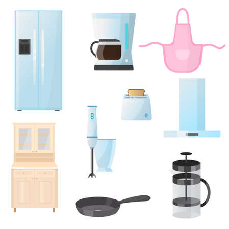 Kitchenware. Kitchenware, crockery, cutlery, kettle, fridge for cooking and storing food. Vector illustration isolated on white background.