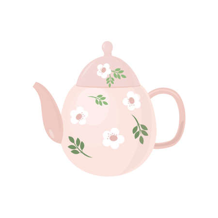 Beautiful colored teapot for brewing tea and boiling water. Teapot unusual shape. Vector illustration isolated on white background.