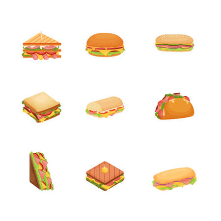 Set of delicious juicy sandwiches with vegetables, cheese, meat, bouqon with a crispy crust.  イラスト・ベクター素材