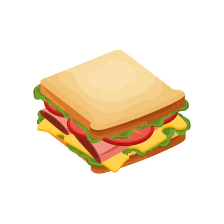 Delicious juicy sandwich with vegetables, cheese, meat, bacon, tomatoes and a crispy crust.