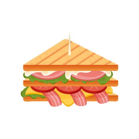 Délicieux sandwich juteux avec légumes, fromage, viande, bacon, tomates et une croûte croustillante.
