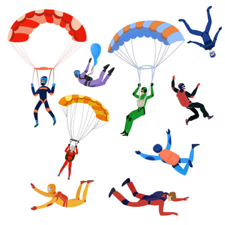 Set of parachutists involved in dangerous sports making jumps in the sky with a parachute. Extreme sport. Vector illustration of different food products on white.
