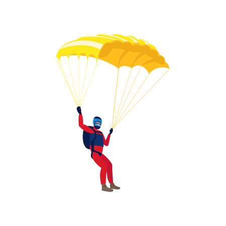 Paracaidista involucrado en un peligroso deporte realizando saltos en el cielo con un paracaídas. Deporte extremo. Ilustración de vector aislado sobre fondo blanco. Ilustración de vector