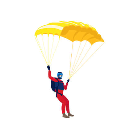 Skydiver engaged in a dangerous sport making jumps in the sky with a parachute. Extreme sport. Vector illustration isolated on white background.