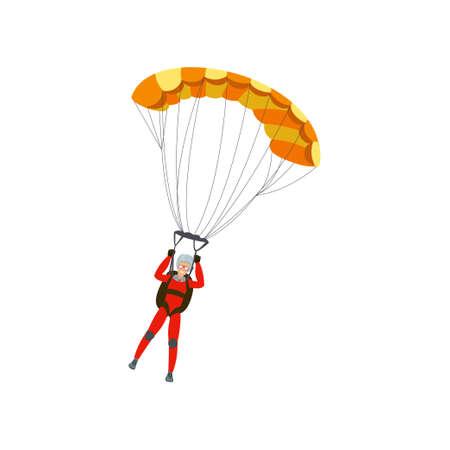 Fallschirmspringer übt einen gefährlichen Sport aus und macht mit einem Fallschirm Sprünge in den Himmel. Extremsport. Vektorillustration lokalisiert auf weißem Hintergrund.