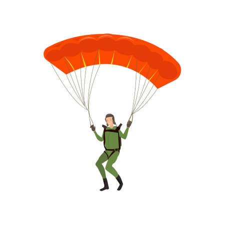 Skydiver engaged in a dangerous sport making jumps in the sky with a parachute. Extreme sport. Vector illustration isolated on white background.  イラスト・ベクター素材