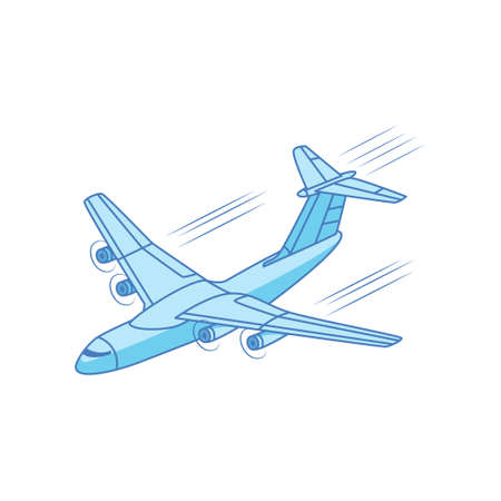 Iron bird plane in the sky. Jet plane with turbines. Vector illustration isolated on white background. Illustration
