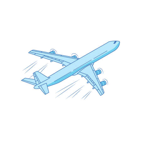 Iron bird plane in the sky. Jet plane with turbines. Vector illustration isolated on white background.