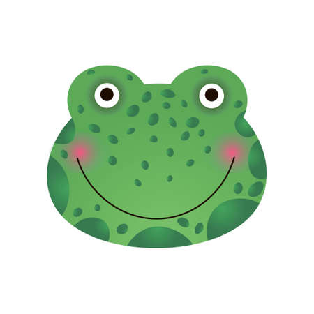 Cute Smiling Frog Face, Baby Animal Head Vector Illustration Isolated on White Background.