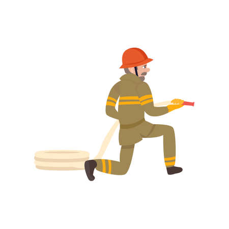 Boy Firefighter Wearing Protective Uniform and Helmet with Hose, Freman Character Doing His Job Vector Illustration Isolated on White Background.