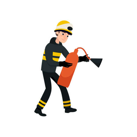 Firefighter Wearing Black Protective Uniform and Helmet with Extinguisher, Professional Male Freman Character Doing His Job Vector Illustration Isolated on White Background.