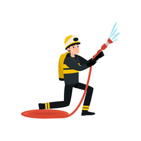 Firefighter Wearing Black Protective Uniform and Helmet Spraying Water with Hose, Professional Male Freman Character Doing His Job Vector Illustration Isolated on White Background.