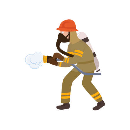 Boy Firefighter Wearing Protective Uniform, Helmet and Mask, Freman Character Doing His Job Vector Illustration Isolated on White Background.