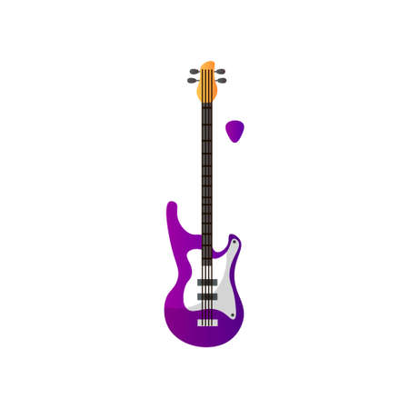 Electric Guitar Musical Instrument Vector Illustration Isolated on White Background.