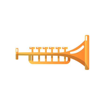 Brass Trumpet Musical Instrument Vector Illustration Isolated on White Background. Illustration