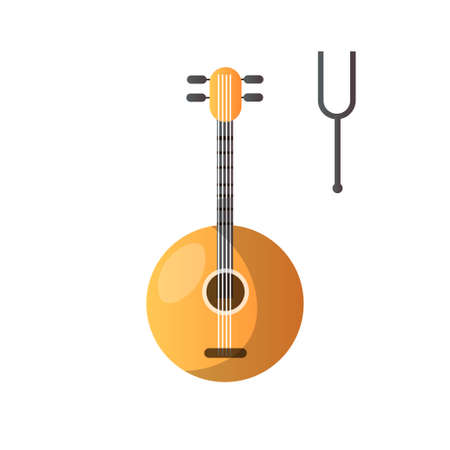 Domra and Tuning Fork Musical Instrument Vector Illustration