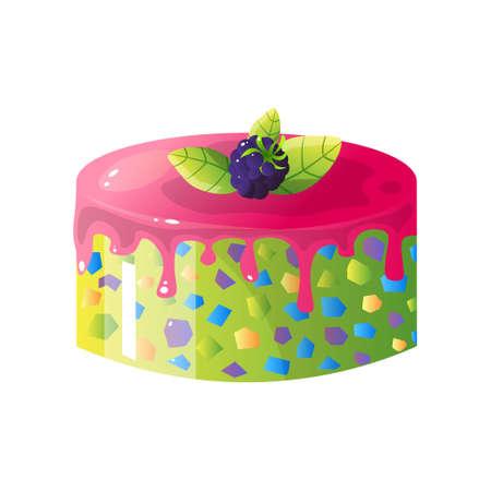Colorful Delicious Cake and Blackberry, Sweet Tasty Dessert Vector Illustration Stock Illustratie