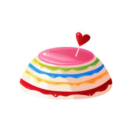 Colorful Delicious Cake, Sweet Tasty Dessert Vector Illustration Isolated on White Background. Çizim